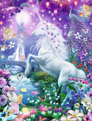 Unicorn and Fairies - 50 x 70cm - Full Drill (Round), Diamond Painting Kit - Currently in stock