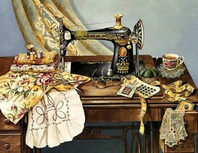 Vintage Sewing Machine - 50 x 70cm - Full Drill (Square), Diamond Painting Kit - Currently in stock