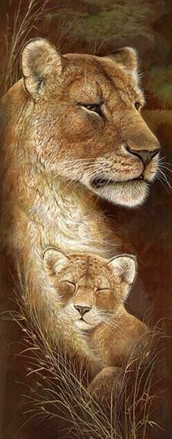 Wild Mothers Lioness - 30 x 75cm - Full Drill (Round), Diamond Painting Kit - Currently in stock