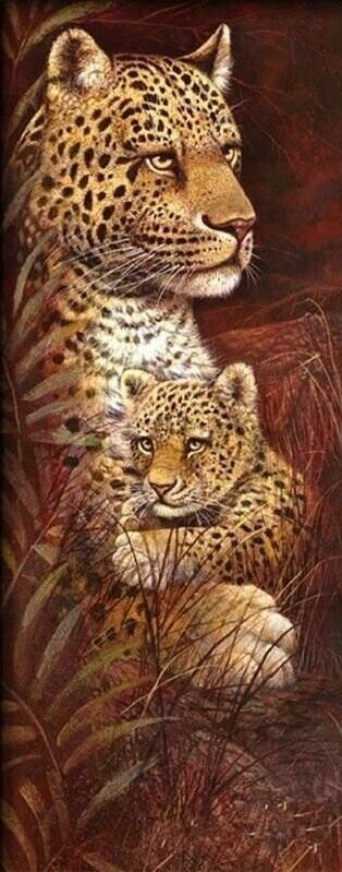 Wild Mothers Leopard - 30 x 75cm - Full Drill (Square), Diamond Painting Kit - Currently in stock