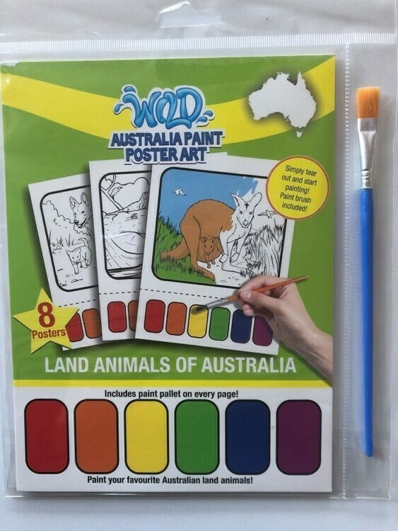 Australia Paint Poster Art - Land Animals of Australia