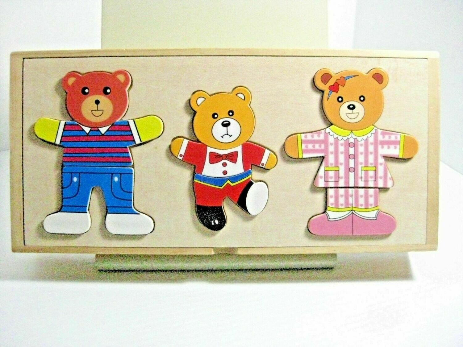 THREE TEDDY BEARS WOODEN CHANGEABLE PUZZLE PIECES
