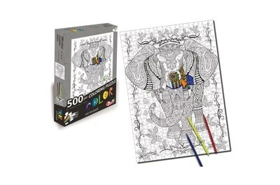 500 Piece Coloring Jigsaw Puzzle - Elephant