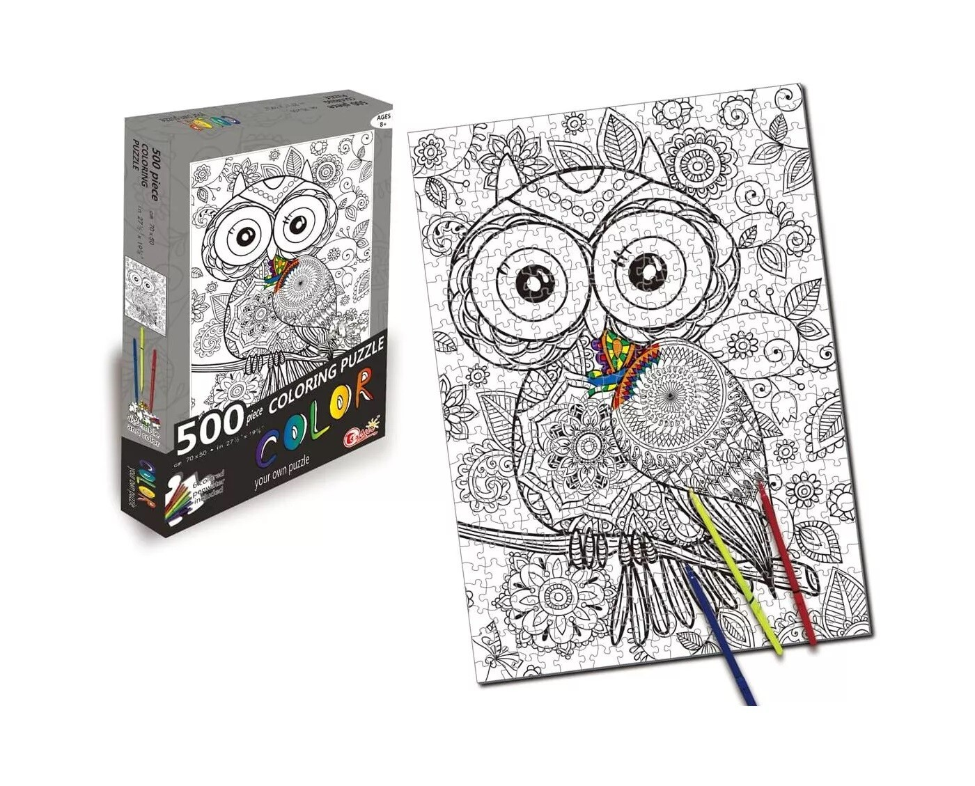 500 Piece Coloring Jigsaw Puzzle - Owl