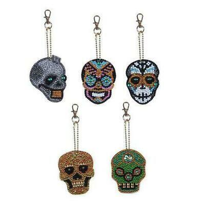 Diamond Painting Keychains - Skulls - Set of 5  (delivery 4 - 6 weeks)