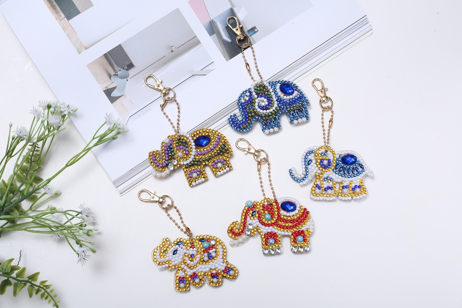 Diamond Painting Keychains - Elephants- Set of 5  (delivery 4 - 6 weeks)