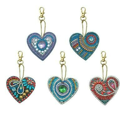 Diamond Painting Keychains - HEARTS - Set of 5