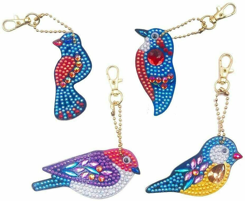 Diamond Painting Keychains - BIRDS- Set of 4  (delivery 4 - 6 weeks)