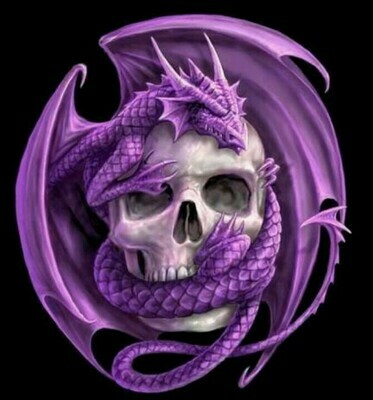 Purple Dragon and Skull - 30 x 30cm Full Drill (Round) Diamond Painting Kit - Currently in stock