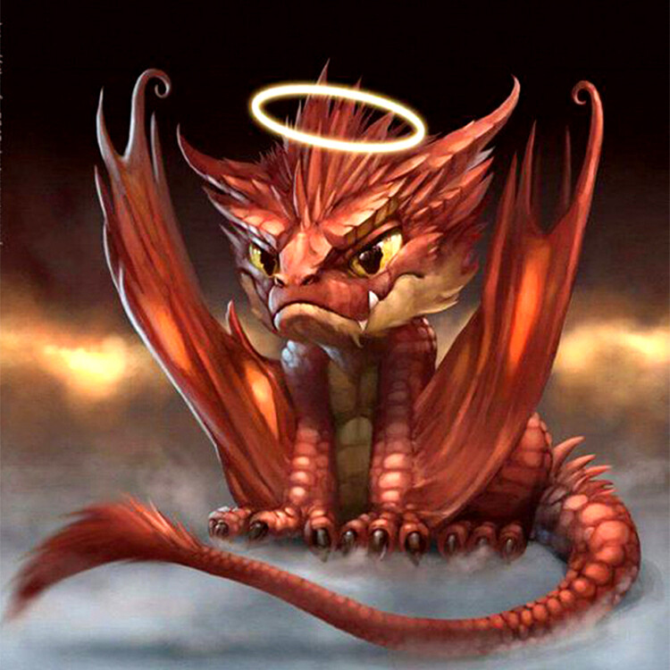 Angel Dragon - 30 x 30cm Full Drill (Round) Diamond Painting Kit - Currently in stock