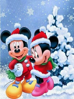 Mick and Min Christmas - 30 x 40cm Full Drill (Round) Diamond Painting Kit - Currently in stock
