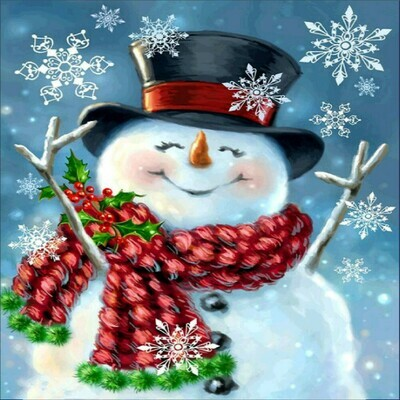 Snowman and Snowflakes - 30 x 30cm Full Drill (Round) Diamond Painting Kit - Currently in stock