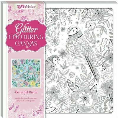Glitter Colouring Canvas - Birds
