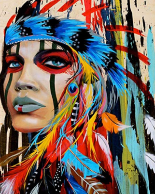 Colourful Native American - 40 x 50cm Full Drill (Square), Diamond Painting Kit - Currently in stock