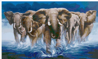 Elephant Stampede - 50 x 70cm - Full Drill (Square), Diamond Painting Kit - Currently in stock