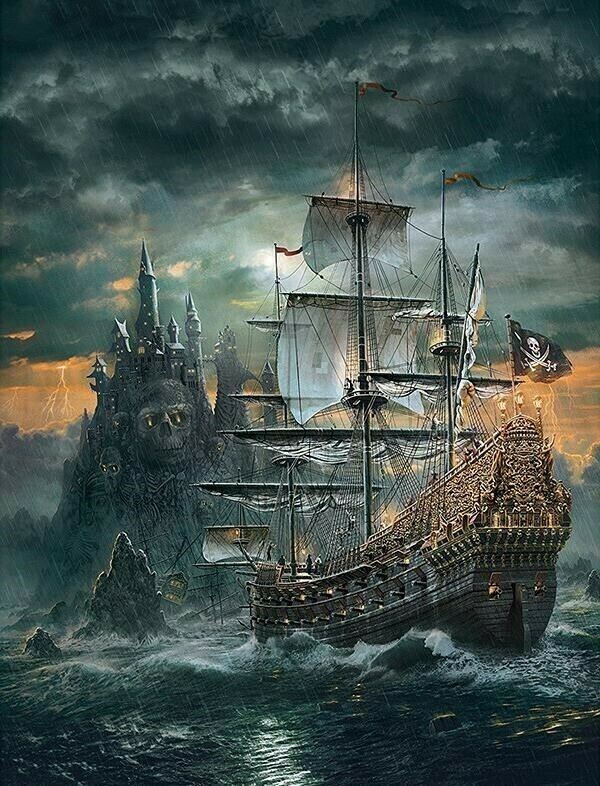 Black Ship - 50 x 70cm - Full Drill (Square), Diamond Painting Kit - Currently in stock