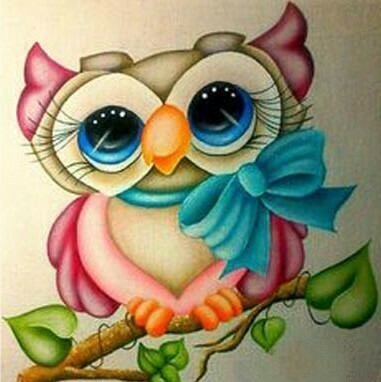 Little Owl 2 - 40 x 40cm Full Drill (Square), Diamond Painting Kit - Currently in stock