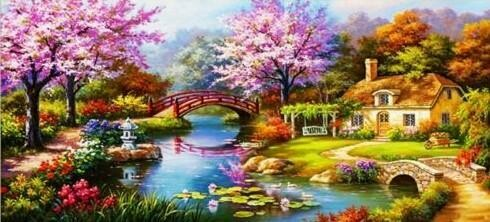 Cherry Blossom Lake House - 60 x 120cm - Full Drill (round), Diamond Painting Kit - Currently in stock