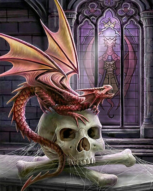 Dragon And Skull - 40 x 50cm Full Drill (Square), Diamond Painting Kit - Currently in stock