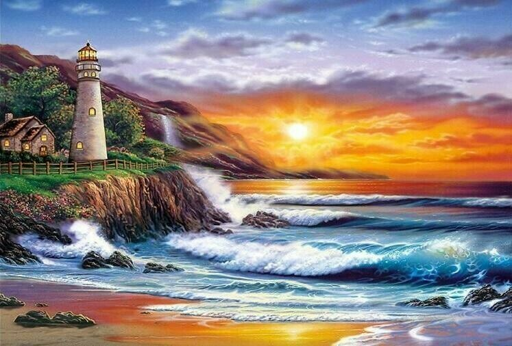 Sunset Lighthouse and Beach - 60 x 90cm - Full Drill (Round) Diamond Painting Kit - Currently in stock