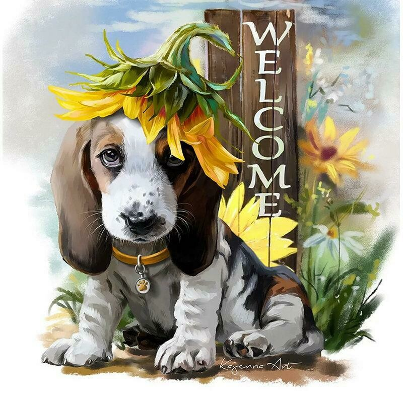 Welcome Dog - 40 x 40cm Full Drill (Round), Diamond Painting Kit - Currently in stock