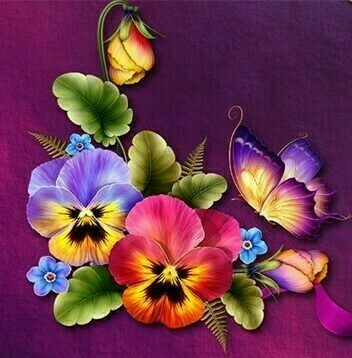 Pansies and Butterfly - 30 x 30cm Full Drill (Square) Diamond Painting Kit - Currently in stock