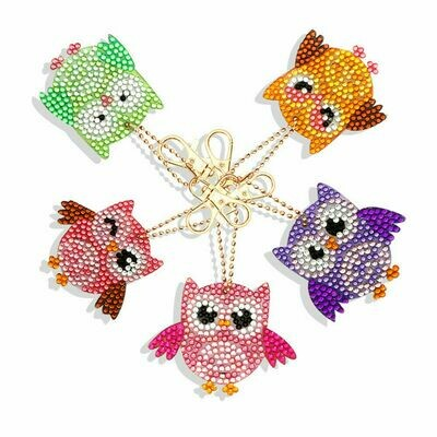 Diamond Painting Keychains - OWLS - Set of 5  (delivery 4 - 6 weeks)