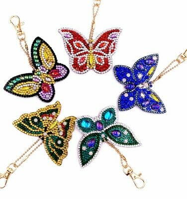 Diamond Painting Keychains - Butterflies - Set of 5  (delivery 4 - 6 weeks)