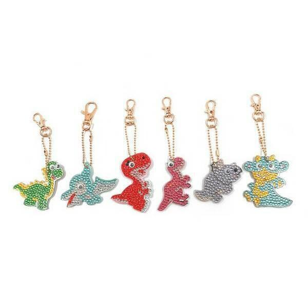 Diamond Painting Keychains - DINOSAURS - Set of 6