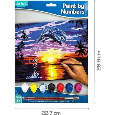 Artstar Paint By Number Small- Jumping Dolphins