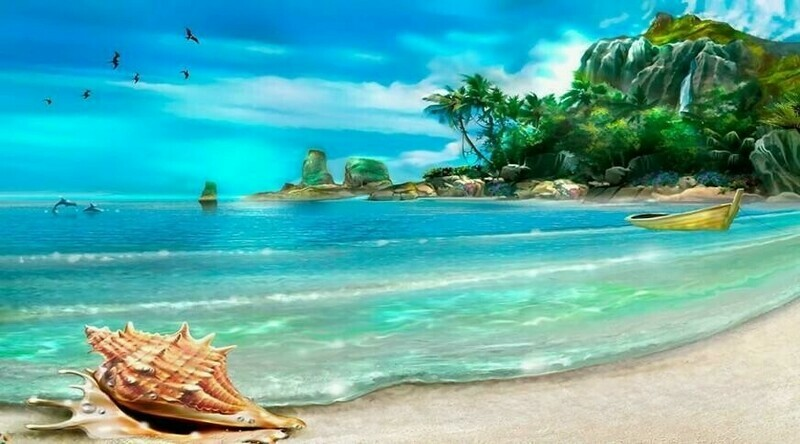 Beautiful Beach 80 x 120cm  Full Drill (Square) Diamond Painting Kit - Currently in stock