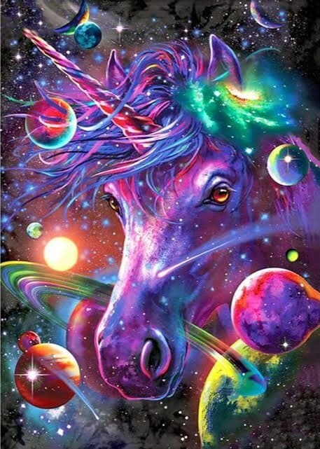 Unicorn Space- Full Drill Diamond Painting - Specially ordered for you. Delivery is approximately 4 - 6 weeks.