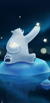 Polar Bear Catching Star - Full Drill Diamond Painting - Specially ordered for you. Delivery is approximately 4 - 6 weeks.