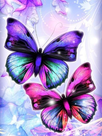Pink and Blue Butterflies - 30 x 40cm Full Drill (Round) Diamond Painting Kit - Currently in stock