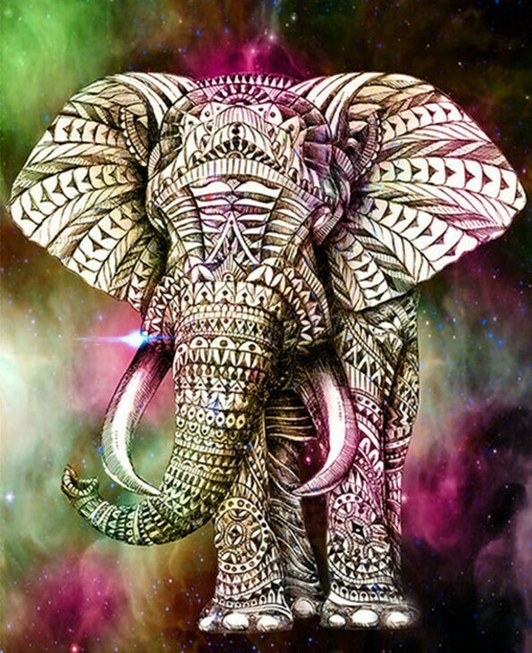 Batik Elephant - 30 x 40cm Full Drill (Round) Diamond Painting Kit - Currently in stock