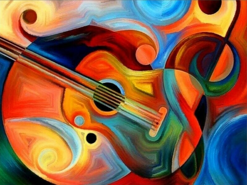 Abstract Guitar - 30 x 40cm Full Drill (Round) Diamond Painting Kit - Currently in stock