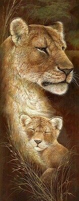 Wild Mothers Lioness - 30 x 75cm - Full Drill (Square), Diamond Painting Kit - Currently in stock