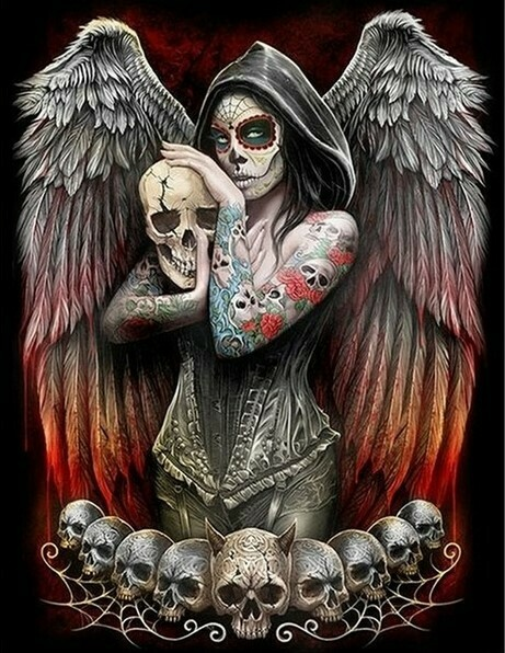 Skull Angel - 40 x 50cm Full Drill (Round), Diamond Painting Kit - Currently in stock