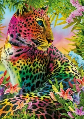 Colourful Leopard - 40 x 50cm Full Drill (Square), Diamond Painting Kit - Currently in stock