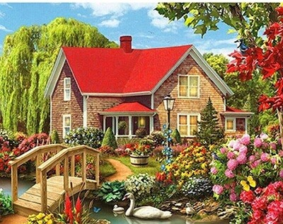 Cottage Garden - 40 x 50cm Full Drill (Round), Diamond Painting Kit - Currently in stock
