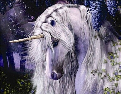 White Unicorn - 40 x 50cm Full Drill (Round), Diamond Painting Kit - Currently in stock