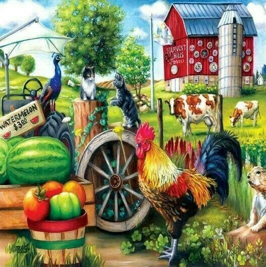 Farm Yard - 30 x 30cm Full Drill (Round) Diamond Painting Kit - Currently in stock