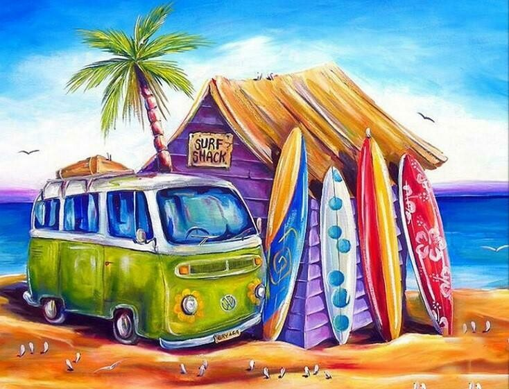 Surf Shack - 40 x 50cm Full Drill (Round), Diamond Painting Kit - Currently in stock