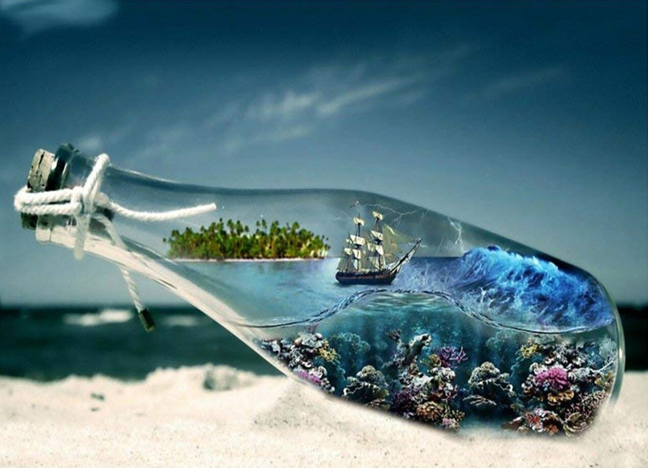 Ship in a Bottle - 50 x 60cm - Full Drill (Square) - Diamond Painting Kit - Currently in stock