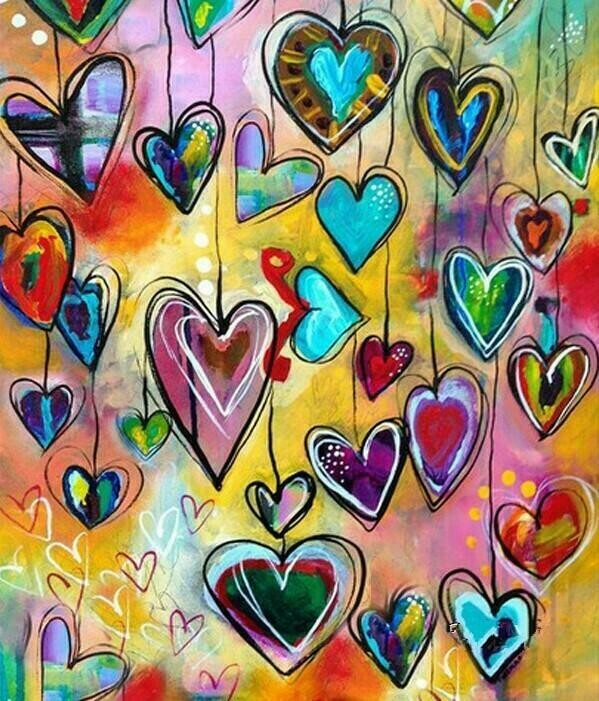 Hanging Hearts - 40 x 50cm Full Drill (Square), Diamond Painting Kit - Currently in stock