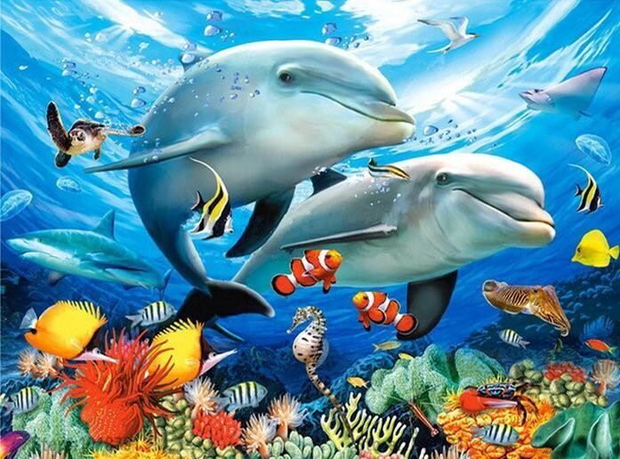 Sea Dolphins- 50 x 70cm - Full Drill (round), Diamond Painting Kit - Currently in stock
