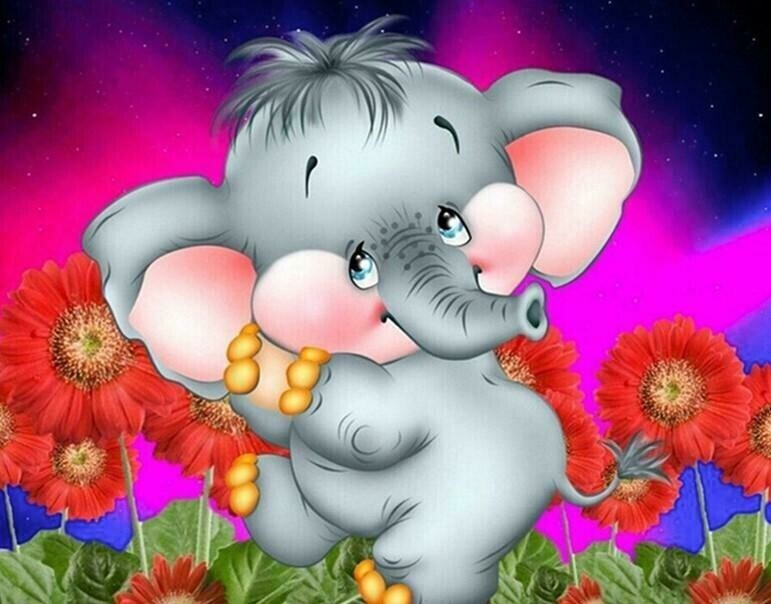 Baby Elephant - 30 x 40cm Full Drill (Round) Diamond Painting Kit - Currently in stock