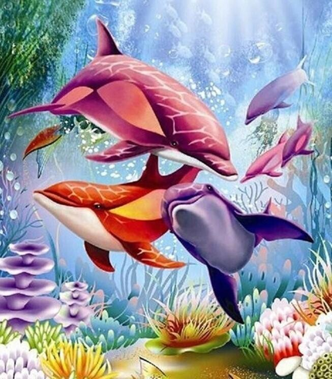 Colourful Dolphins - 30 x 40cm Full Drill (Round) Diamond Painting Kit - Currently in stock