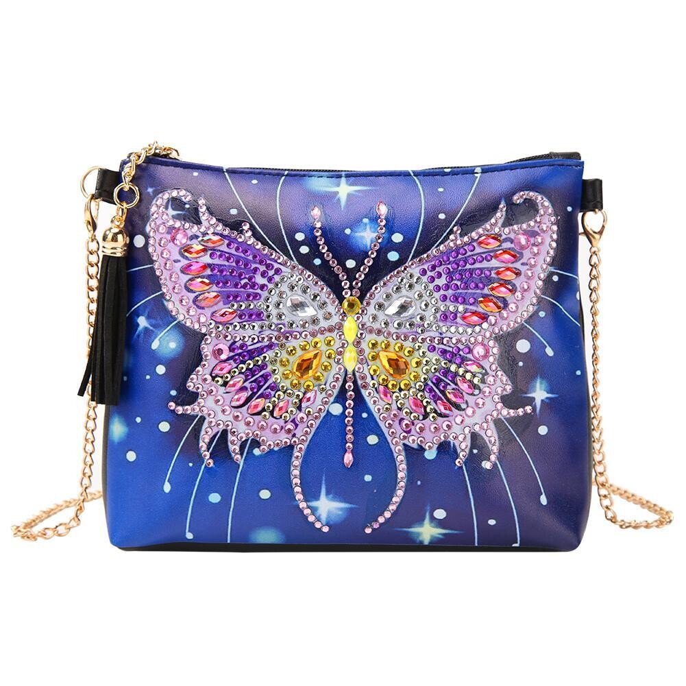 Bag with Chain - Blue/Butterfly - DIY Diamond Painting