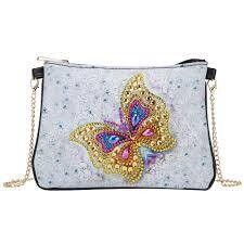 Bag with Chain - White/Butterfly - DIY Diamond Painting